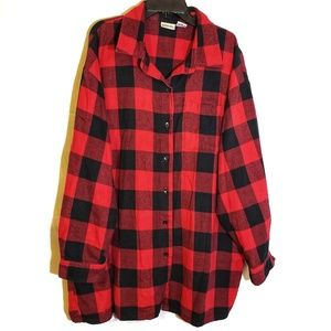 Red Checked Long Sleeved Button-up Shirt size 2X